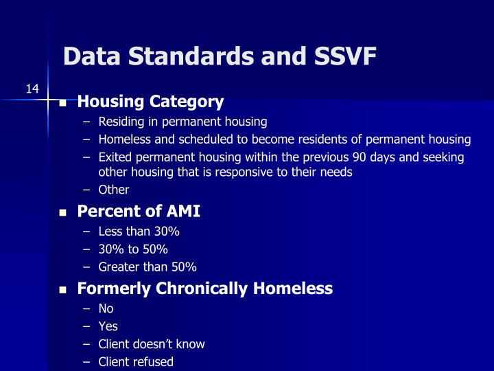 Data Standards and SSVF