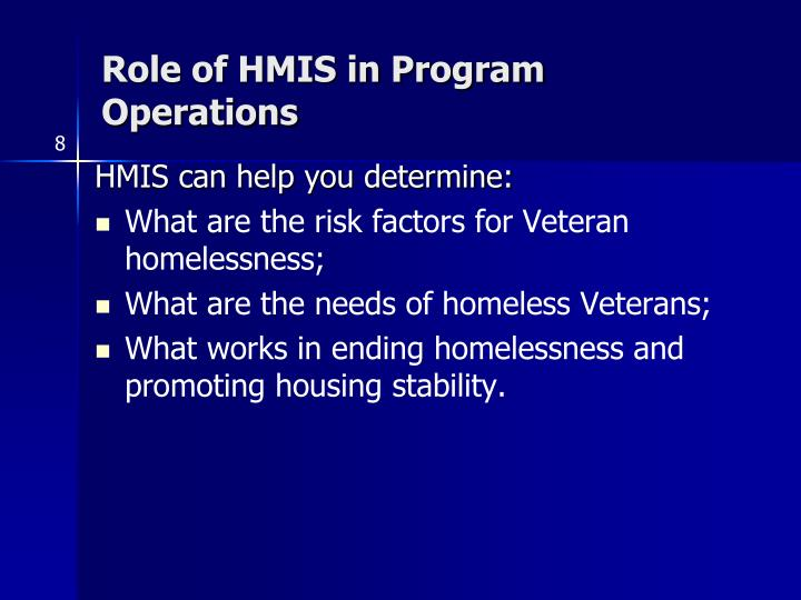 Role of HMIS in Program Operations
