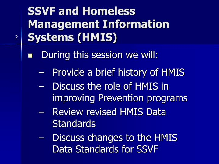 Ssvf and homeless management information systems hmis