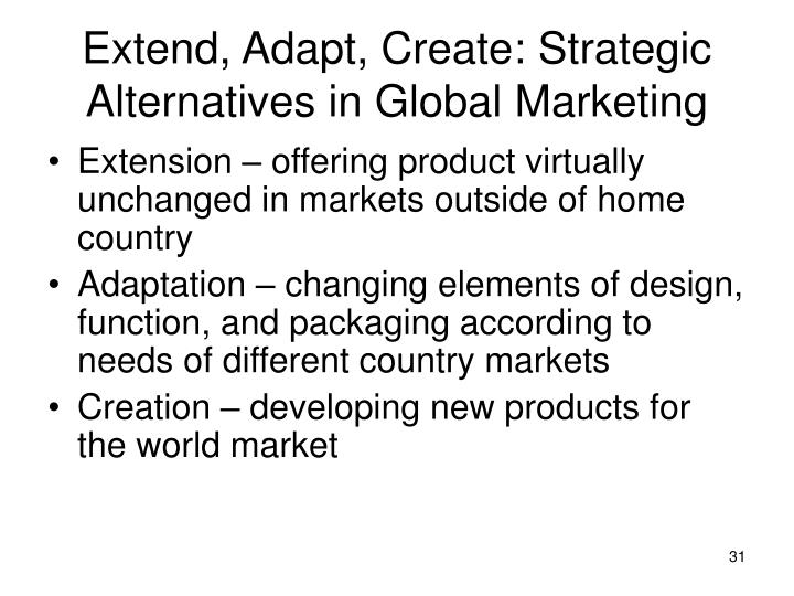 Extend, Adapt, Create: Strategic Alternatives in Global Marketing