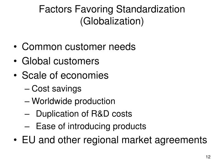 Factors Favoring Standardization (Globalization)