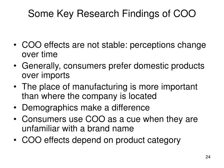 Some Key Research Findings of COO