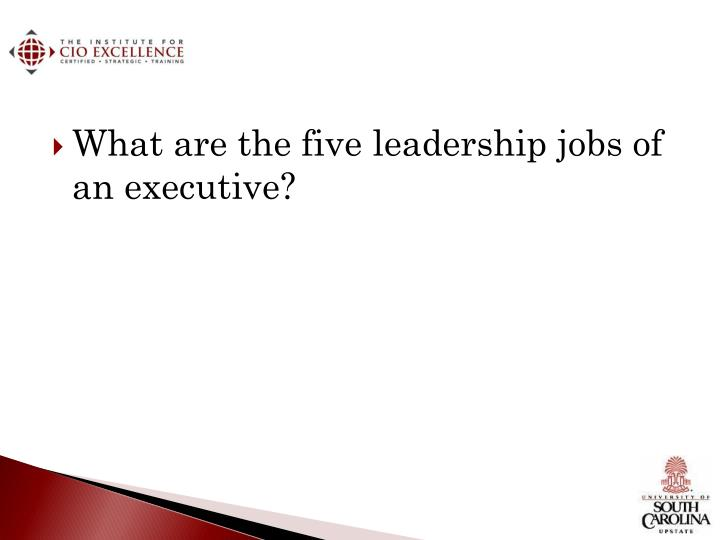 What are the five leadership jobs of an executive?