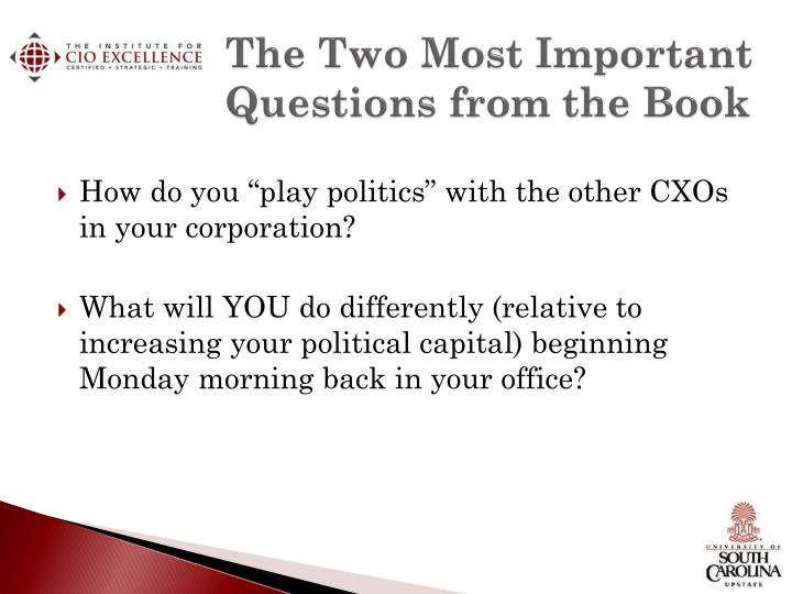 The Two Most Important Questions from the Book