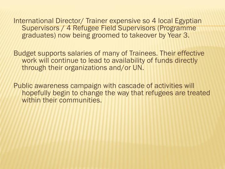 International Director/ Trainer expensive so 4 local Egyptian Supervisors / 4 Refugee Field Supervisors (Programme graduates) now being groomed to takeover by Year 3.