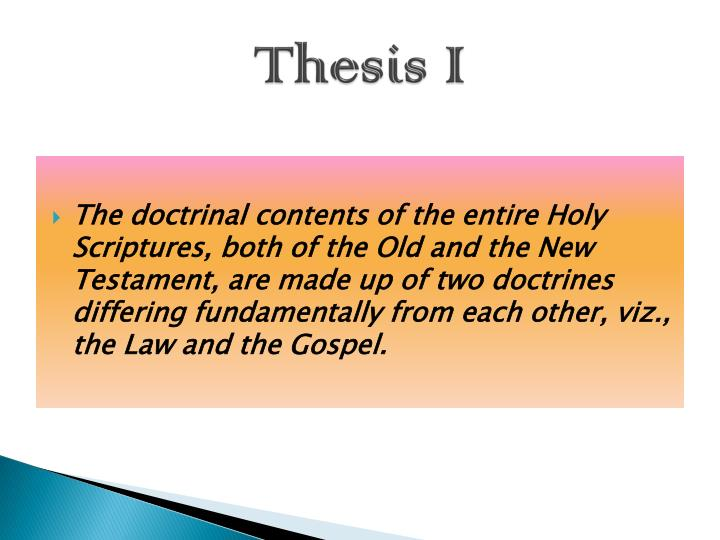 Thesis I