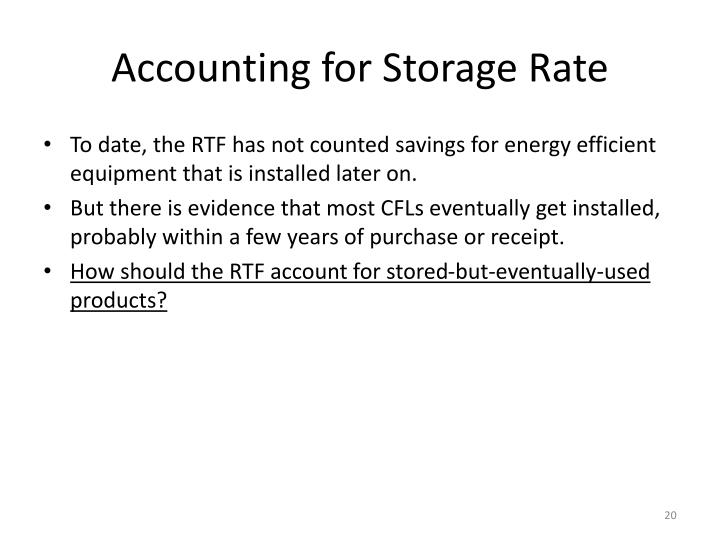 Accounting for Storage Rate