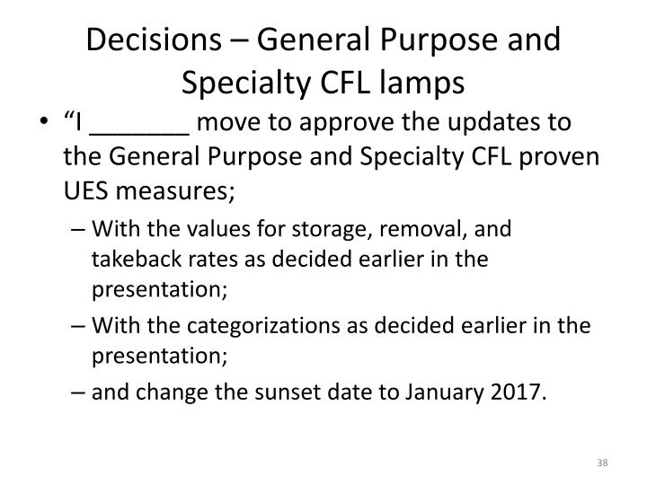 Decisions – General Purpose and Specialty CFL lamps