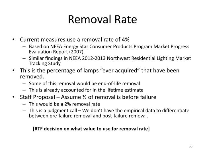 Removal Rate