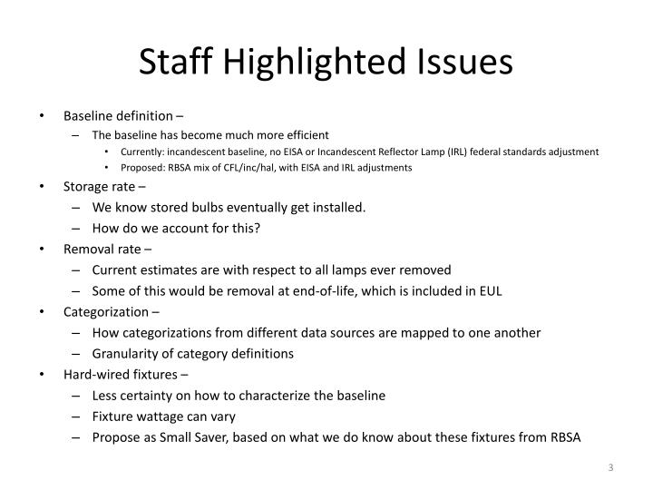 Staff highlighted issues