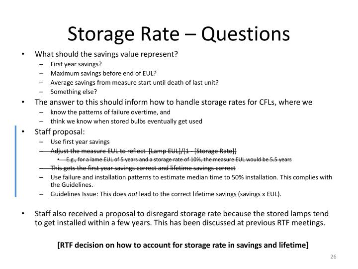 Storage Rate – Questions