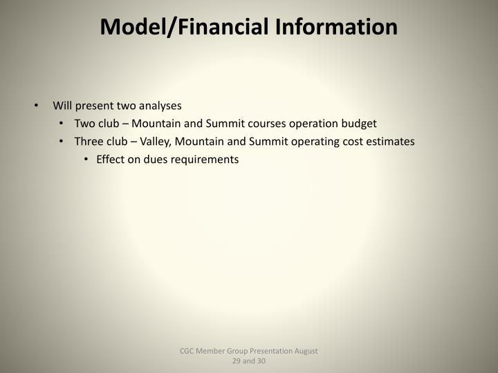 Model/Financial Information