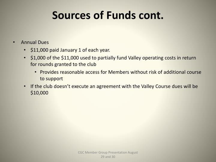Sources of Funds cont.