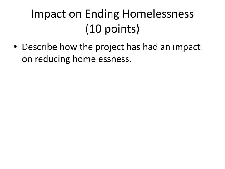 Impact on Ending Homelessness