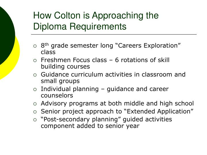 How Colton is Approaching the Diploma Requirements
