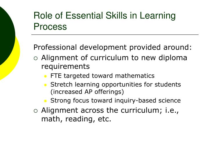 Role of Essential Skills in Learning Process