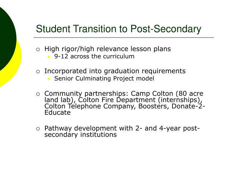 Student Transition to Post-Secondary