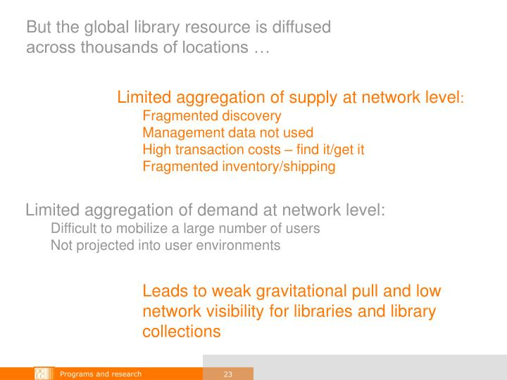But the global library resource is diffused across thousands of locations …