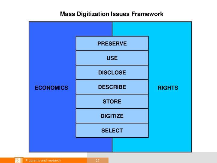 Mass Digitization Issues Framework
