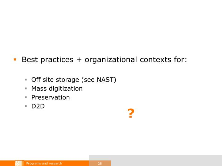 Best practices + organizational contexts for: