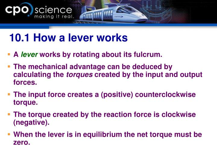 10.1 How a lever works