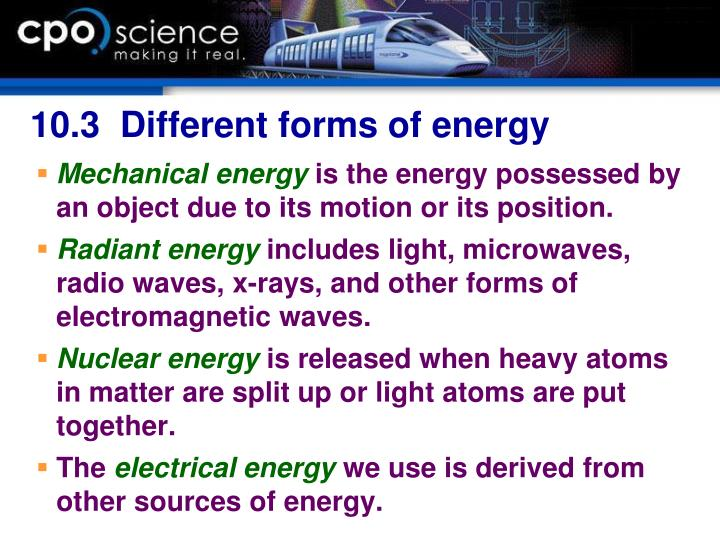 10.3  Different forms of energy