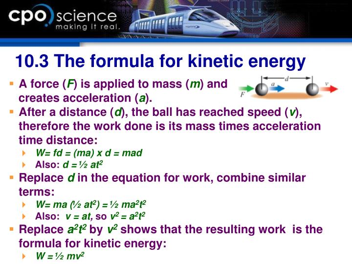 10.3 The formula for kinetic energy