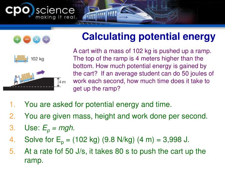 Calculating potential energy