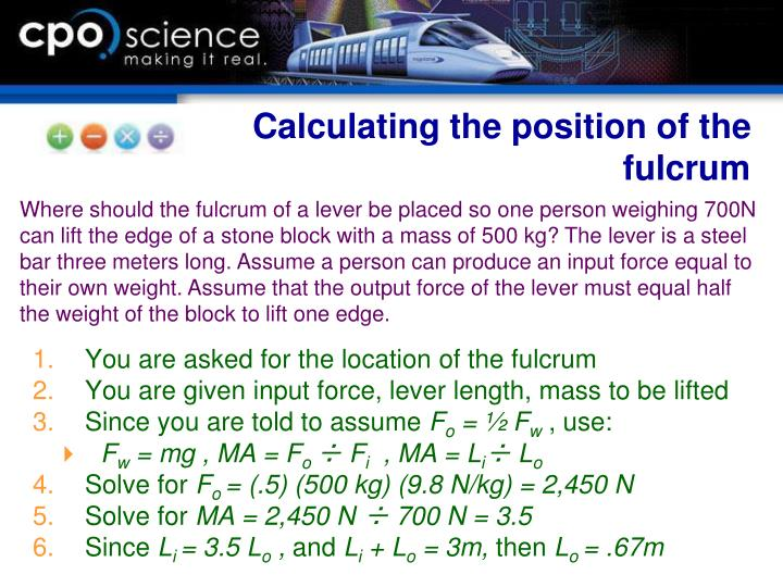 Calculating the position of the