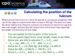 calculating the position of the fulcrum