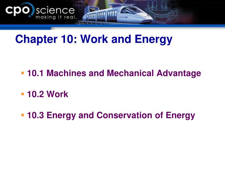Chapter 10: Work and Energy