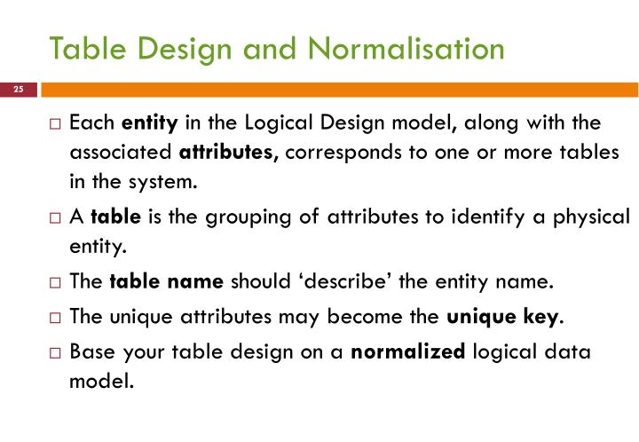 Table Design and Normalisation