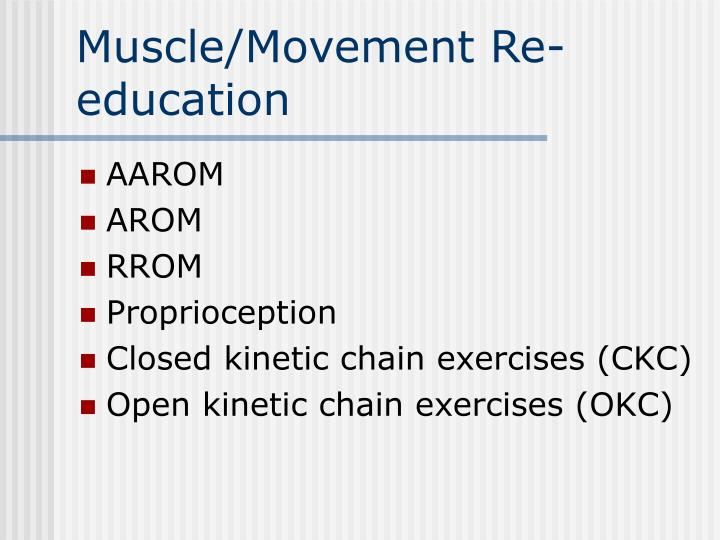 Muscle/Movement Re-education