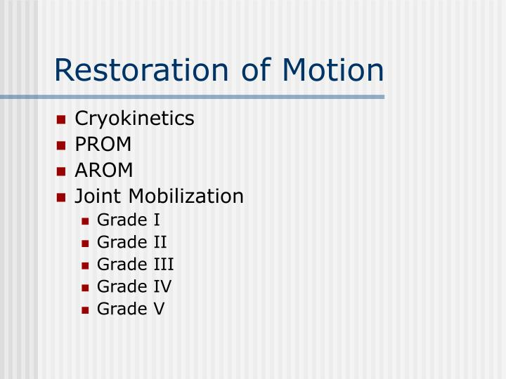 Restoration of Motion