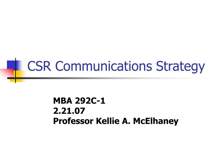 Csr communications strategy
