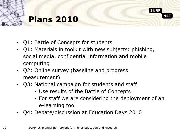 Plans 2010
