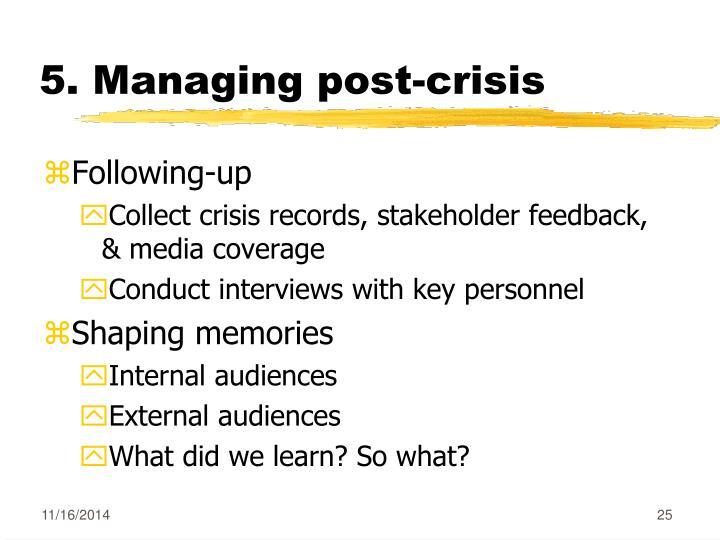5. Managing post-crisis