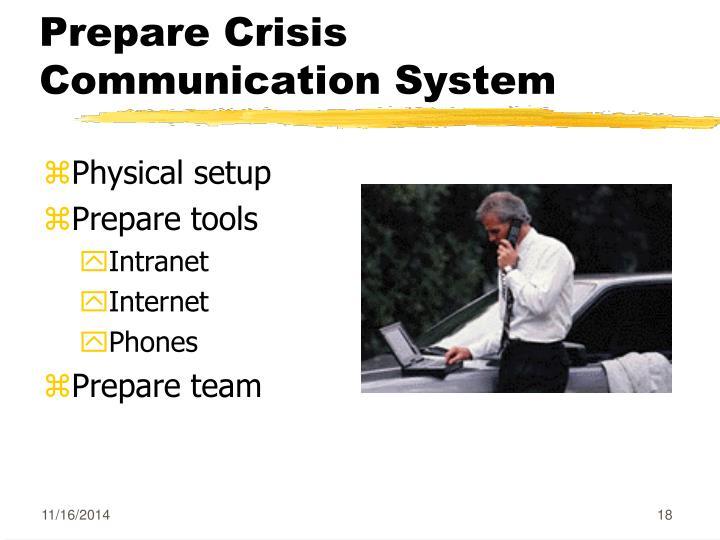 Prepare Crisis Communication System