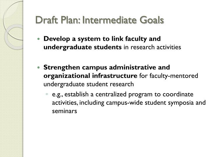 Draft Plan: Intermediate Goals