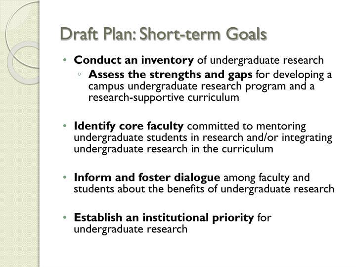 Draft Plan: Short-term Goals