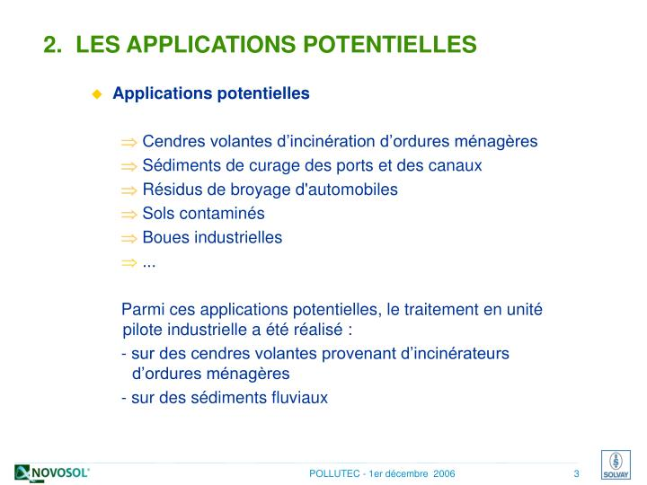 2.  LES APPLICATIONS POTENTIELLES