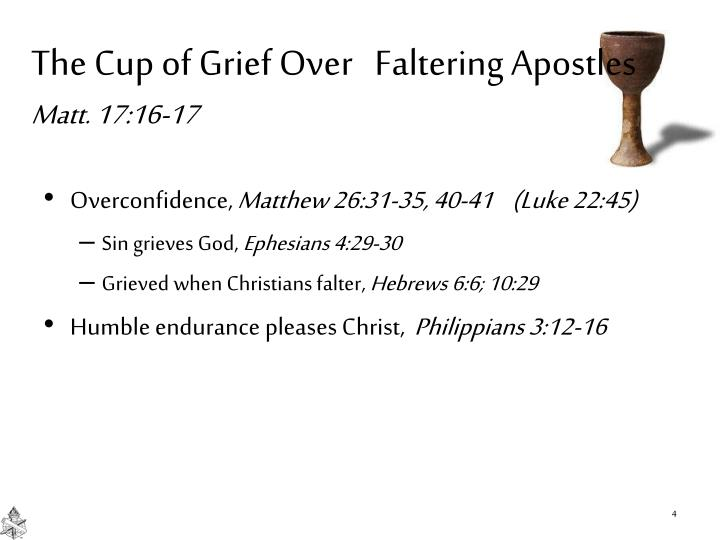 The Cup of Grief Over   Faltering Apostles