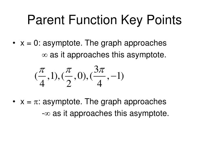 Parent Function Key Points