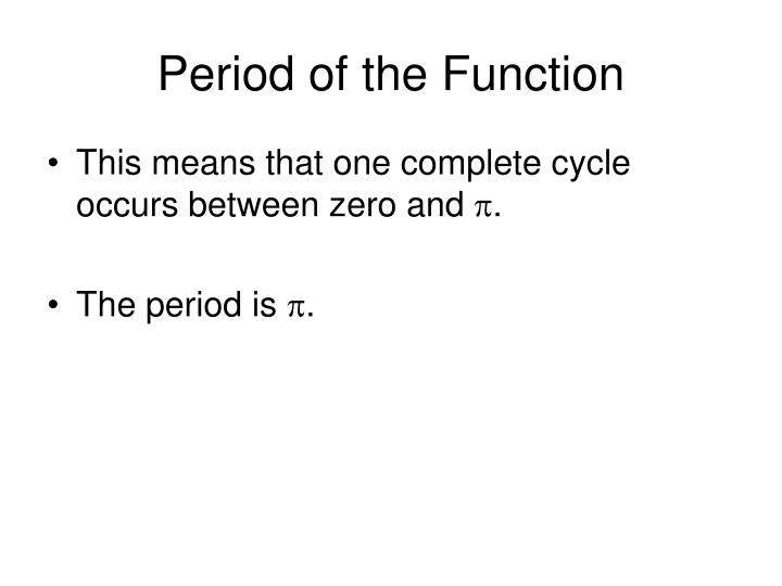 Period of the Function