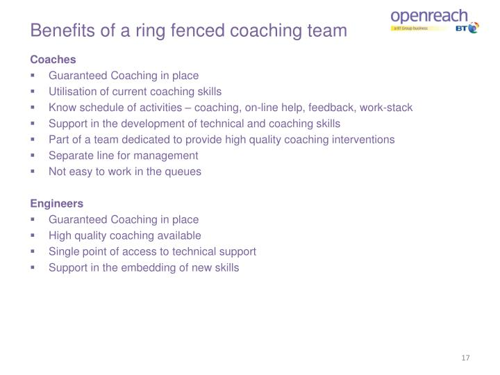 Benefits of a ring fenced coaching team
