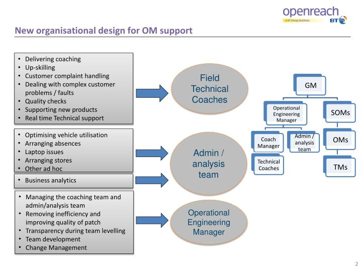 New organisational design for OM support