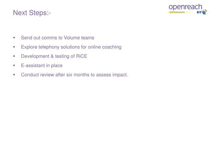 Next Steps:-