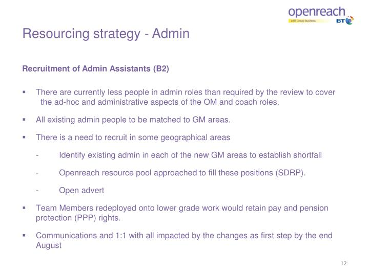 Resourcing strategy - Admin