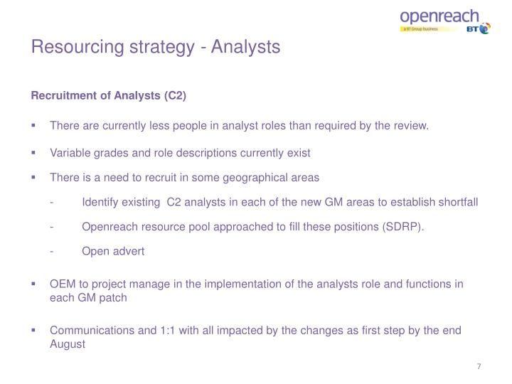 Resourcing strategy - Analysts