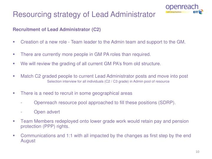 Resourcing strategy of Lead Administrator